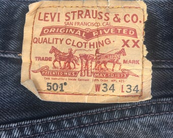 Levis 501 34x34 - Waist 34 - Length 34 - Levi Strauss - Faded - High Waisted Jeans - W34 L34 - Vintage Clothing - 90s Clothing -