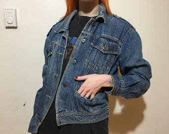 90s New York Girl Denim Jacket - Small - Jean Jacket - Fitted Jacket - Spring - Fashion - Style - Vintage Clothing -
