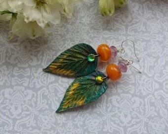 Treefruits Earrings. Art jewelry. Lampwork. Helen Backhouse Leaves. Sterling silver. Fae jewelry. Uk artist. Gift for her.
