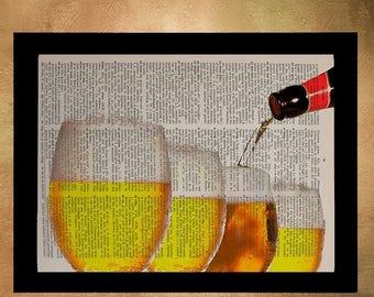 SUMMER SALE-Ends July 5- Beer Glass Dictionary Art Print Bar Decor Brewing Micro Brew Microbrew Art Wall Art Home Alcohol Gift Ideas da1031