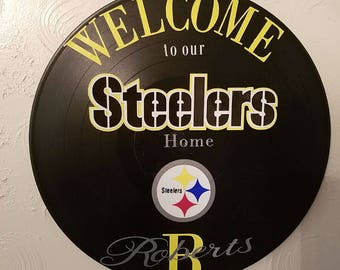 Personalized Steelers wall hanging, upcycled record album, Pittsburgh Steelers