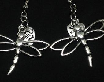 Silver Dragonfly Earrings Springtime Earrings Summer Earrings  Garden Earrings, Nature Earrings