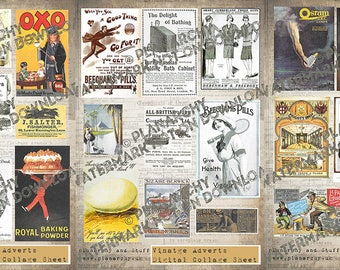 Digital Collage Sheet Pack of Three  - More Vintage Adverts