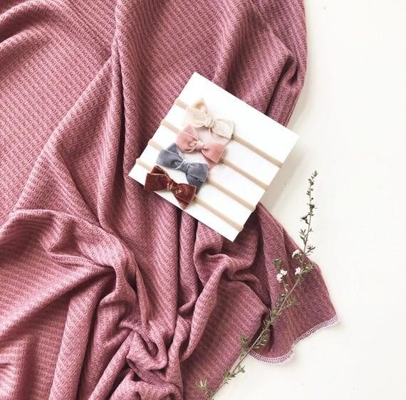 Baby Swaddle- the | Rosalie | Dark Mauve Waffle Knit Swaddle Blanket
