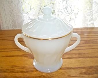 Vintage Milk Glass Sugar Bowl~Fire King Milk Glass Sugar Bowl~Anchor Hocking Sugar Bowl~Vintage Sugar Bowl~Gold Trim