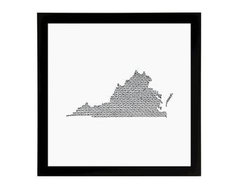 Virginia State Love Art Print