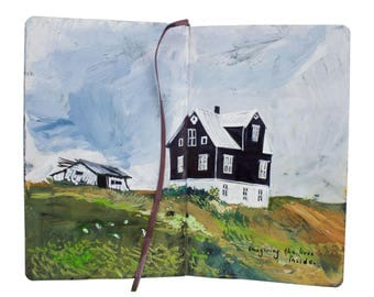 "Fine Art Print of Iceland Landscape Painting from Artist Sketchbook - ""Ptarmigan Farm House"""
