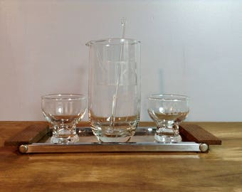 Vintage You Me Ours Cocktail Set with Tray / Etched Glass Decanter and Glasses / Mid Century Bar Set