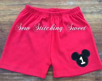 Mickey Mouse Shorts, Mickey Mouse Birthday, Mickey Mouse Birthdat Shorts, Mickey Mouse outfit, Mickey Mouse First Birthday, Minnie Mouse,