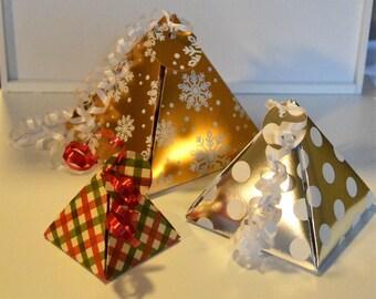 Christmas Pyramid Box - Any Size Pattern - Christmas Gift Box - Pyramid Gift Box - Holiday Gift Box - Gold Gift Box - Silver Gift Box