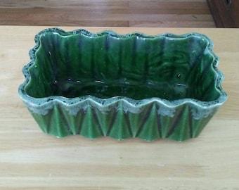 Green Planter, Ceramic Planter UPCO Planter, Small Green Planter, Drip Glaze Planter Succulent Planter Planter, Vintage Planter, Rectangular