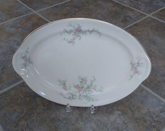 Taylor Smith Platter, Cream Platter, Meat Platter, Moss Rose Platter, Fine China, Taylor Smith Taylor, Vintage China, Serving Platter, Gift