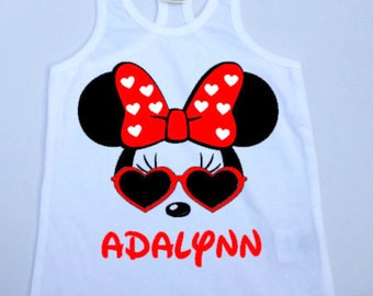 Minnie Mouse with Sunglasses Racerback Tank // Minnie Mouse Mickey Mouse // Personalize