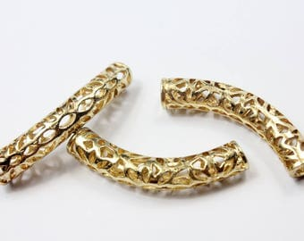 2pcs 6mm Hole Gold Plated Hollowed Tube for Bracelet and Necklace, 50mm Long TU99