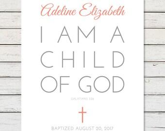 BAPTISM GIFT, Personalized Baptism Gift, Girl Baptism Gift, Boy Baptism Gift, Baptism Scripture, Galatians 3:26, I Am A Child Of God