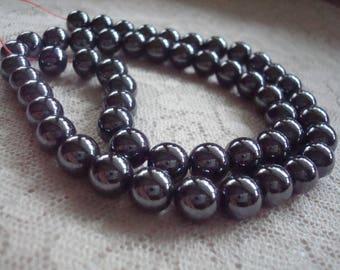 "52 Heavy Black Hematite Rounds. Non-Magnetic. 8mm. Smooth, Lovely Gun Black Natural Organic Hematite Beads. 15.5""   ~USPS Ship Rates/ Oregon"