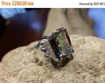 Holiday SALE 85 % OFF Mystic Topaz  ring size 8 Sterling 925 Silver   Ring  Gemstone