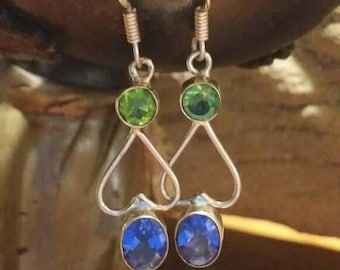 Holiday SALE 85 % OFF Iolite Peridot   Earrings  Gemstone  .925 Sterling  Silver