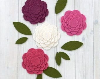 Felt Flowers, Rose of Sharon, Chrysanthemum, Flower Layers, Die Cut Felt Shapes, Felt Applique, Hoop Art, Your Choice of Colors