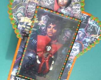 Mexican Nicho Micheal Jackson Alter Tin Folk Art Box Shrine Day of the Dead Decoration