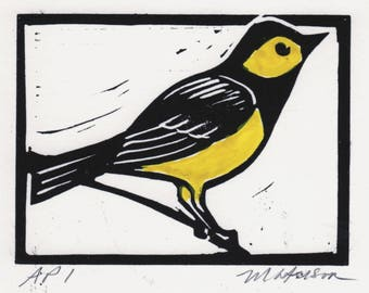 A Handmade Linocut Print of a Hooded Warbler, 3 x 4 inches, Signed