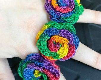 Crochet Rose Ring Rainbow Lace Rose Rose Ring