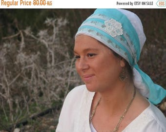 SALE Mint Head covering, tichel, head scarf, chemo scarf,hair snood,sinar tichel,mitpahat
