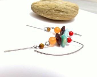 Boucles d'oreilles rouge marron bleu orange grands crochets, pierre naturelles, et acier chirurgical (GC3)