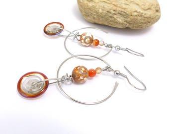 Boucles d'oreille orange beige, pierre naturelle, verre au chalumeau (BO 17)