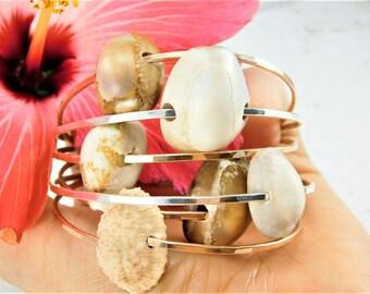 Hawaiian Cowrie Shell Bangle, Cowrie Shell Bracelet, Cowrie Shell Jewelry, Hawaiian Shell Bangle, Hawaiian Shell Bracelet,