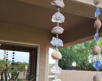 2 ft River Rock and Light Purple and Pink Glass Rain Chain