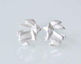 Sterling Silver Origami Rabbit Stud Earrings, SILVER Rabbit Earrings, Silver Bunny Earrings, Origami Animal Jewelry, Origami Bunny Jewelry