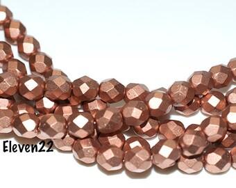 25 6mm Matte Metallic Copper Czech Firepolish Beads, Faceted, Czech Glass Beads, Jewelry Making Supplies, Beads, Beadings, Craft Supplies