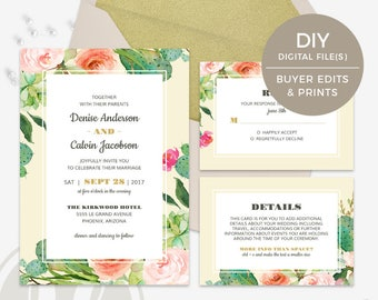 Succulent Wedding Invitation - Cactus Wedding Invitation, Wedding Invitation Set, Instant Download, Invitation Suite, RSVP Card