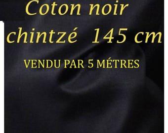 Coupon 5 M cotton Chintz collar: black, width 145cm 1st choice soft and shiny