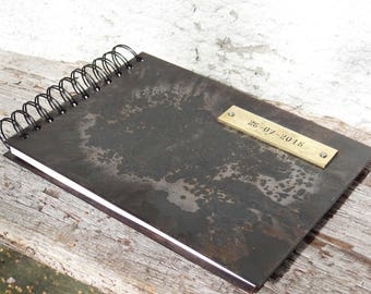 Photo album - Iron anniversary gift - wedding album - anniversary scrapbook - steel guestbook wedding - 6th anniversary gift -A5 photo album