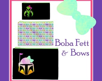 Set of Three Boba Fett with Bows Cosmetic Bags - Only Available Through June 23rd, Pencil Bag, Pencil Case, Bag Organizer, Star Wars Bags