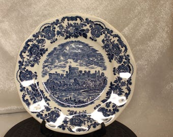 Vintage Royal Homes of Britain Unicorn Tableware White and Blue Plate Made in England