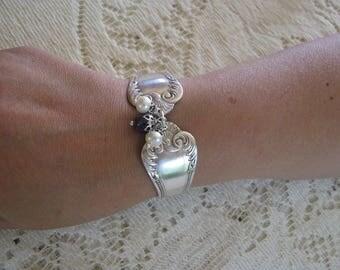 "Spoon Bracelet - Spoon Jewelry - Silver Bracelet - Silverware Jewelry - Flatware Jewelry - ""Lotus"" by 1847 Rogers,  1895, CHUNKY, Very Rare"