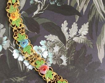 Art Deco Bracelet. Vintage Bracelet. Pretty 1930s Gold Metal Bracelet. Painted Flowers. Blue. Pink. Green. Wedding Gift. Something Old.