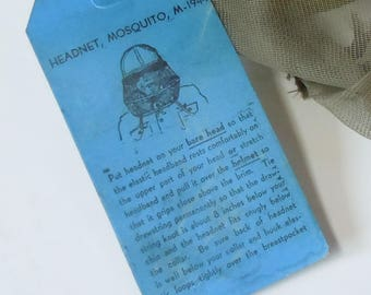 Pith Helmet / Vintage Mosquito Netting for your Brimmed Hat / Never used Soft Netting / 1940's