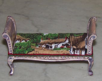 French Country Settee for 1:12th Dollhouse.  Distressed.  Scenic Fabric of Cottage.  Hand Tufted. Carved.