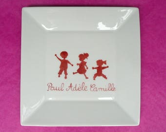 Organizer or small flat square silhouettes of children porcelain hand painted