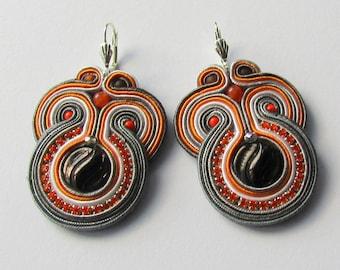 Soutache Earrings Gray - orange