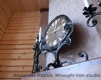 Wrought iron , oak table clock.