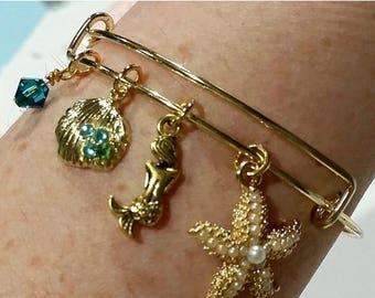 ON SALE Bangle bracelet - charm bracelet - Under the sea - mermaid - mermaids - starfish - seashell - ocean - bottom of the ocean - birthsto