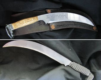 Railroad Spike Knife With Carbon Steel Blade and Handmade Leather Sheath, Handmade To Order