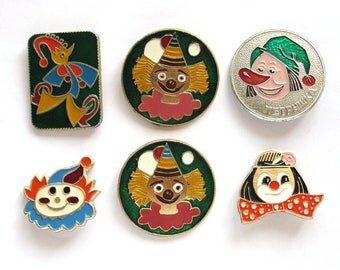Circus, Children's badges, Pick your pin, Clown, Petrushka, Vintage metal collectible badge, Soviet Pin, Soviet Union, Made in USSR, 1980s