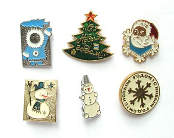 Happy New Year, Vintage metal children's badge, Snowman, Santa Claus, Christmas tree, Winter, Set, Soviet Vintage Pin, Made in USSR