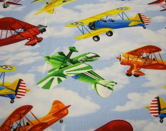 Timeless Treasures Cotton Airplane Fabric Called Propeller Planes